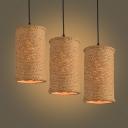 Burlap 3 Bulbs LED Multi Light Pendant with Cylinder Shade
