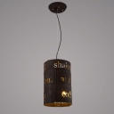 Industrial Style Salvaged Rust 6 Light LED Pendant with Hand-Worked Iron