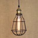 Satin Black 1-Light Wrought Iron LED Mini Pendant with Wire Cage