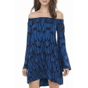 Blue Off The Shoulder Flared Sleeve Feather Print Dress