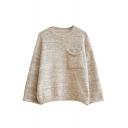 Round Neck Single Pocket Long Sleeve Plain Sweater