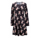 Black Deer Christmas Print Long Sleeve Midi Round Neck Dress