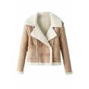 Notched Lapel Lamb Wool Lining Suede Double Breasted Jacket