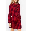 Red Plaid Buttons Front Long Sleeve Tie Waist Shirt Dress