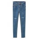 Mid Waist Cutout Stretch Plain Tapered Skinny Jeans