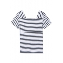 Square Neck Short Sleeve Stripes Slim Tee