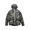 Patchwork Letter Print Camouflage Long Sleeve Hooded Waterproof Coat