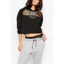 Hooded Net Gauze Patchwork Letter Print Black Cropped Sweatshirt