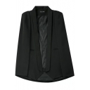 Plain Lapel Shoulder Padded Open Front Blazer