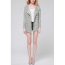 Asymmetrical Lapel Plain Open Front Long Sleeve Long Cardigan