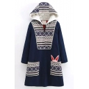 Tribal Print Patchwork Hooded Zipper Cartoon Long Coat