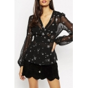 Star Print Balloon Sleeve Belt Waist Sheer Black Blouse