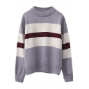 Round Neck Stripe Trims Color Block Long Sleeve Sweater