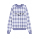 Letter Jacquard Color Block Plaid Long Sleeve Sweater