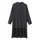 High Neck Polka Dot Pleated Patchwork Loose Midi Dress