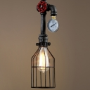 Brushed Iron 1 Light Wire Cage Pipe Industrial LED Pendant