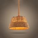 12'' Wide Burlap Single Light LED Mini Pendant with Trapezium Shade