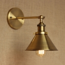 Brass Finish 1 Light Wall Sconce with Cone Shade