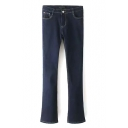 Zipper Fly Dark Washed Blue Plain Mid Waist Flared Jeans