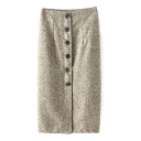 Button Down Front Plain Tube Tweed High Waist Maxi Skirt