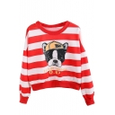 Cute Dog Print Stripes Color Block Long Sleeve Sweatshirt
