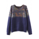 Round Neck Raglan Sleeve Ombre Color Block Sweater