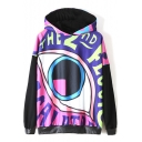 Hooded Cartoon Eye Print Color Block PU Patchwork Sweatshirt
