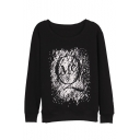 Letter Print Black Graffiti Long Sleeve Round Neck Sweatshirt