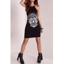 Halter Strange Skull Print Crisscross Back Bodycon Mini Dress