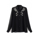 Lapel Positioning Embroidery Beading Long Sleeve Chiffon Shirt