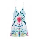 V-Neck Straps Floral Print A-Line Mini Dress