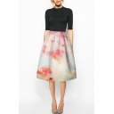 High Waist A-Line Tie-Dye Midi Zipper Skirt
