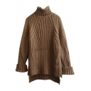 Split Side Dip Hem Plain Turtleneck Long Sleeve Long Sweater
