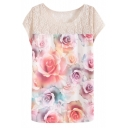 Round Neck Short Sleeve Lace Patchwork Floral Print Tee