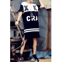 Color Block Letter Print Stripe Trims Tunic Short Sleeve Tee