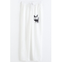 White Drawstring Waist Cat Patterned Straight Joggers