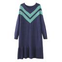 Round Neck Raglan Sleeve Chevron Color Block Ruffle Hem Knit Dress