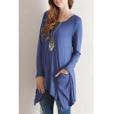 Round Neck Long Sleeve Double Pockets Asymmetrical Hem Tee