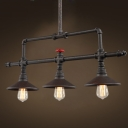 Age Iron 3 Light LED Linear Chandelier in Pipe Style