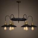 6 Light 1 Tier Large Black Industrial LED Chandelier with Coolie Shade