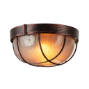 Flush Mount in Olde Bronze with Ribbed Glass
