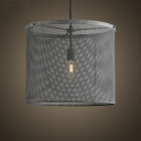 Weathered Steel 1 Light Drum Shade LED Hanging Pendant
