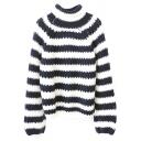 Stripes Color Block Turtleneck Long Sleeve Sweater