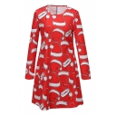 Christmas Theme Hat Print Long Sleeve Round Neck Dress
