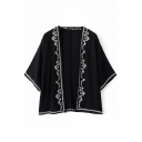 Positioning Embroidery Batwing 3/4 Length Sleeve Kinomo