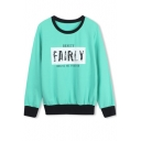 Letter Print Color Block Pullover Long Sleeve Sweatshirt