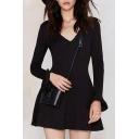 Plain V-Neck Ruffle Cuff A-Line Black Mini Dress