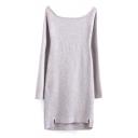 Scoop Neck Raglan Sleeve Plain Bodycon Dip Hem Midi Knit Dress