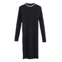 Round Neck Beading Plain Long Sleeve Bodycon Knit Midi Dress