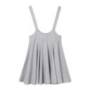 Plain A-Line Skater High Waist Overall Mini Skirt